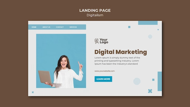 Annonce commerciale de modèle de page de destination