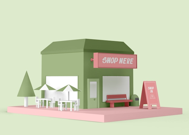 Annonce extérieure avec boutique