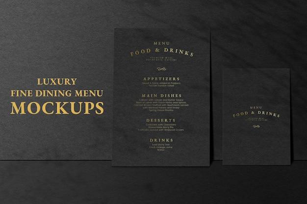 Annonce de maquette psd de carte de menu dans un style de luxe noir pour les restaurants
