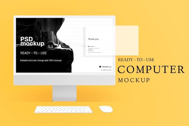 Annonce psd de maquette d'écran d'ordinateur modifiable avec diapositives de présentation