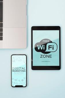 Appareils modernes avec connexion wifi