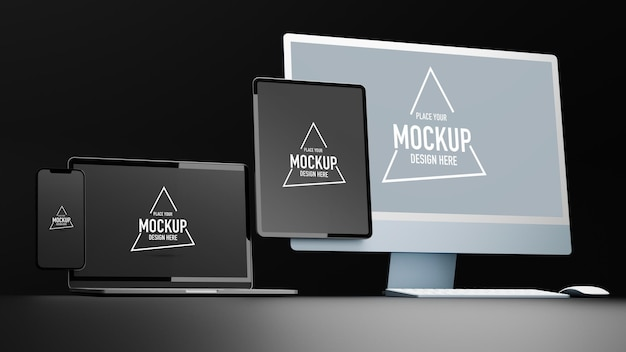 Appareils numériques avec tablette et écran de maquette de smartphone rendu 3d