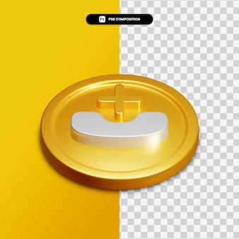 Appel de rendu 3d manqué icône sur cercle doré isolé