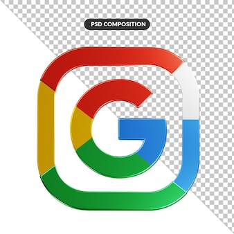 Application de logo google de rendu 3d isolée