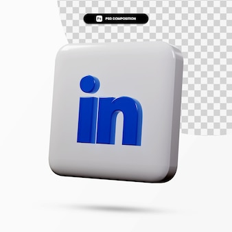 Application de logo linkedin de rendu 3d isolée