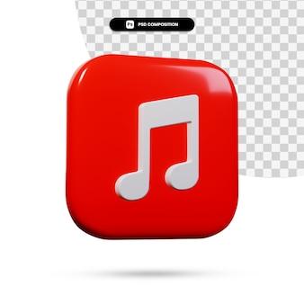 Application de logo de musique de rendu 3d isolée