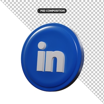 Application de logo de rendu 3d linkedin isolée
