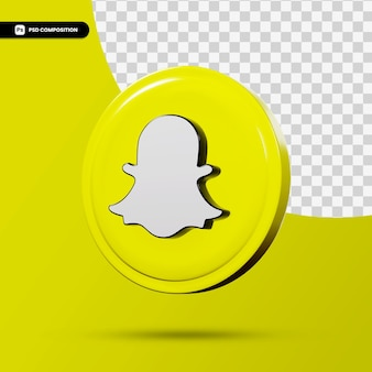 Application de logo de rendu 3d snapchat isolée