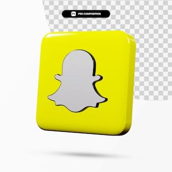 Application de logo snapchat de rendu 3d isolée