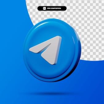 Application de logo de télégramme de rendu 3d isolée