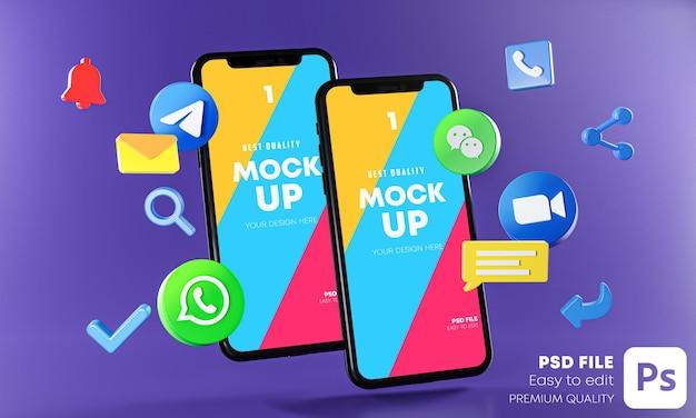 Applications de communication de messagerie les plus populaires avec maquette de téléphones