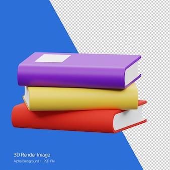 Apprentissage du concept d'étude. rendu 3d de pile de livres icône isolé sur blanc.