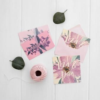 Aquarelle maquette invitation de mariage floral