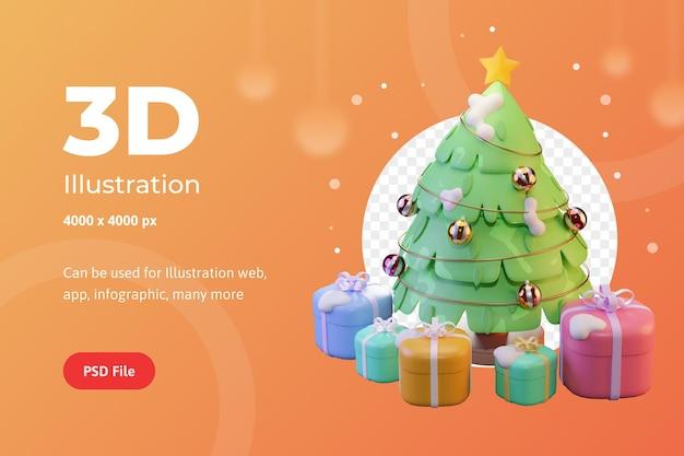 Arbre de noël et cadeaux d'illustration 3d avec l'étoile utilisés pour la publicité d'infographie d'application web
