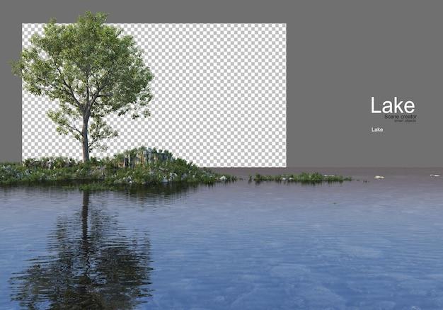 Arbres sur la colline herbeuse au milieu du lac