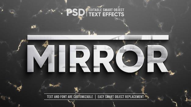 Argent propre avec réflexion sur la maquette d'effet de texte modifiable en marbre doré