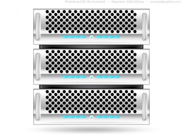 Argent serveur rack, psd web icon