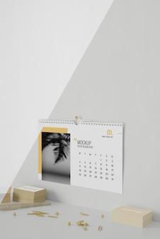 Arrangement de calendrier de maquette minimaliste