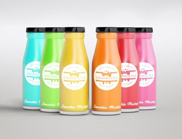 Arrangement coloré de différents smoothies