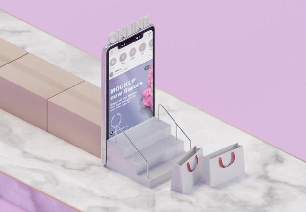 Arrangement commercial créatif avec maquette de smartphone