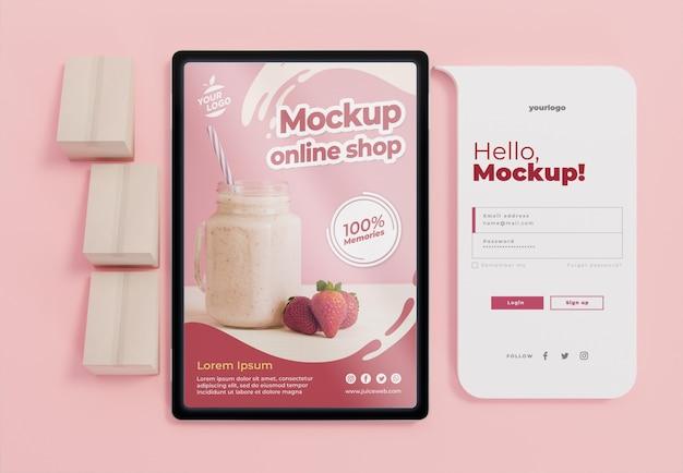 Arrangement commercial créatif avec maquette de tablette