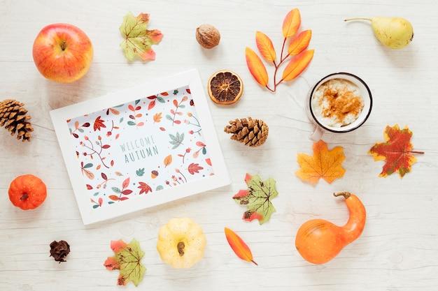 Arrangement de décor d'automne avec maquette