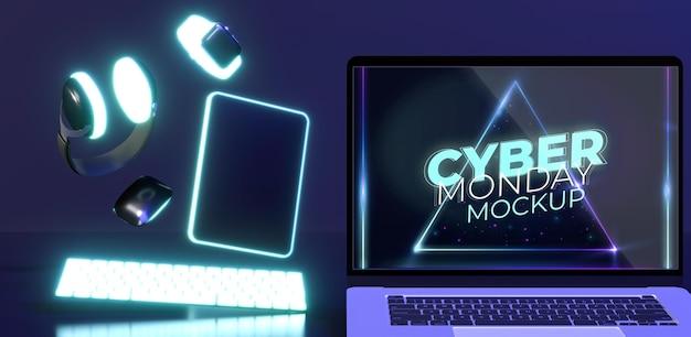 Arrangement du cyber lundi avec maquette d'ordinateur portable