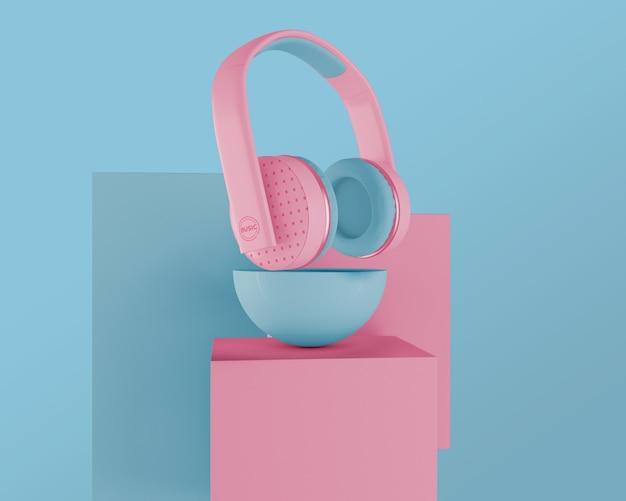 Arrangement avec des écouteurs roses