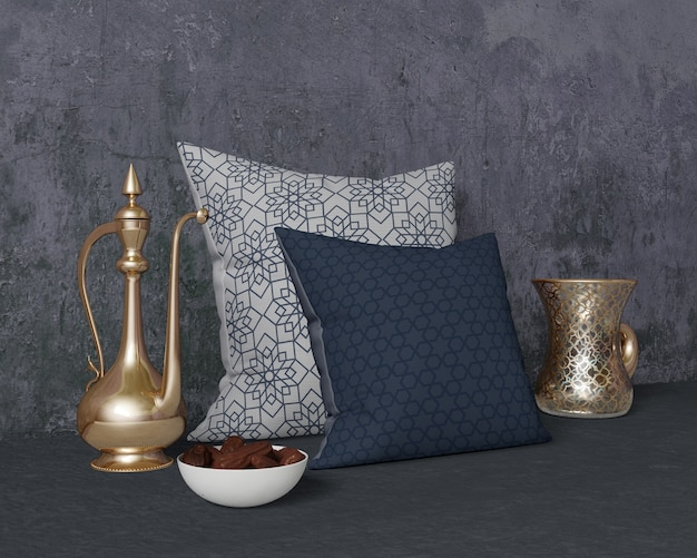 Arrangement festif de ramadan avec maquette d'oreillers