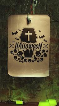 Arrangement d'halloween avec du vieux papier sur le crochet