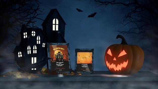 Arrangement d'halloween avec une maquette effrayante de citrouille et de cadre