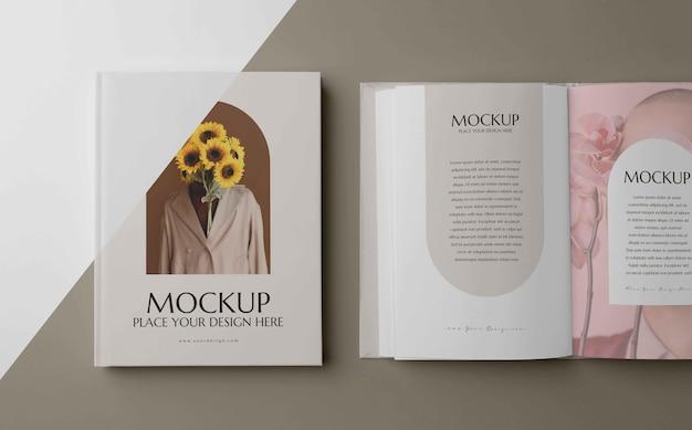 Arrangement de livre de maquette minimaliste