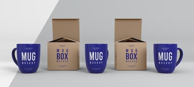 Arrangement de maquette de boîte à tasses