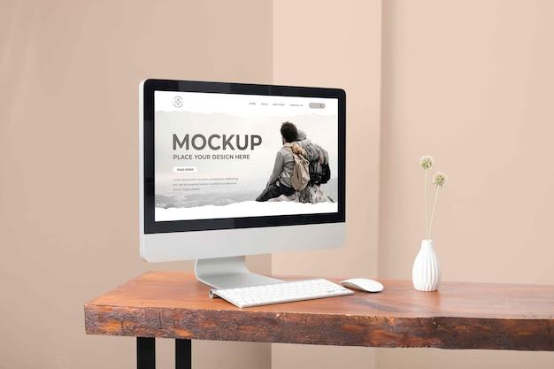 Arrangement de maquette de bureau pc moderne