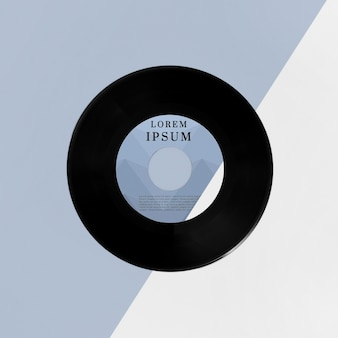 Arrangement de maquette de disques vinyle vue de dessus