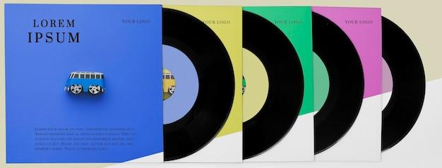 Arrangement de maquette de disques vinyle