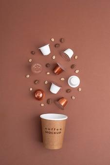 Arrangement de maquette d'éléments de café