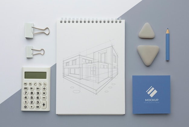 Arrangement de maquette de papeterie moderne
