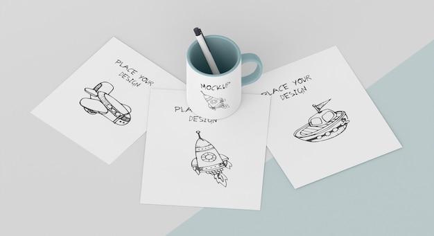 Arrangement de maquette de tasse personnalisée