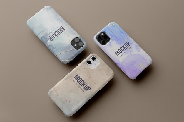 Arrangement de maquettes de cas de téléphone portable