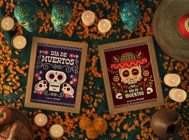 Arrangement de maquettes de crâne mexicain dia de muertos