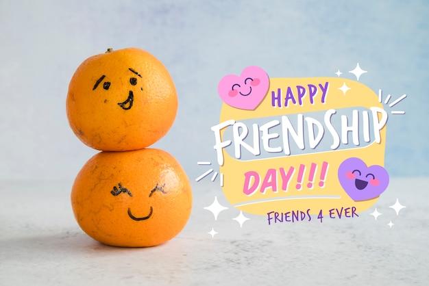 Arrangement pour la journée de l'amitié avec des oranges