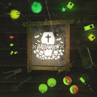 Arrangement spécial vue de dessus pour événement halloween