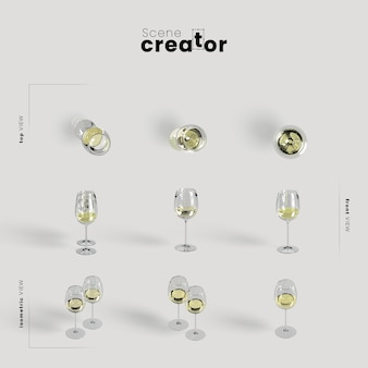 Arrangement de thanksgiving avec du vin blanc dans des verres