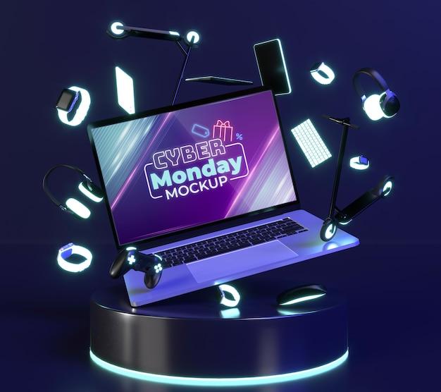 Arrangement de vente cyber monday avec maquette d'ordinateur portable