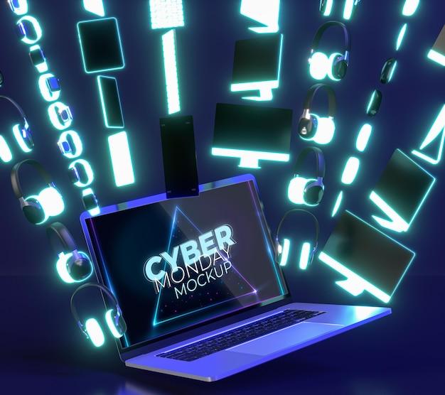 Arrangement de vente cyber monday avec nouvelle maquette d'ordinateur portable