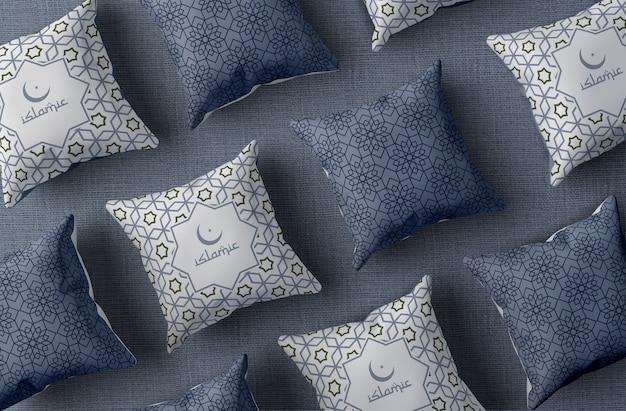 Arrangement de vue de dessus avec des oreillers de ramadan