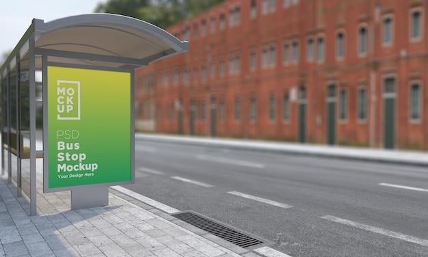 Arrêt de bus abri bus signe maquette rendu 3d