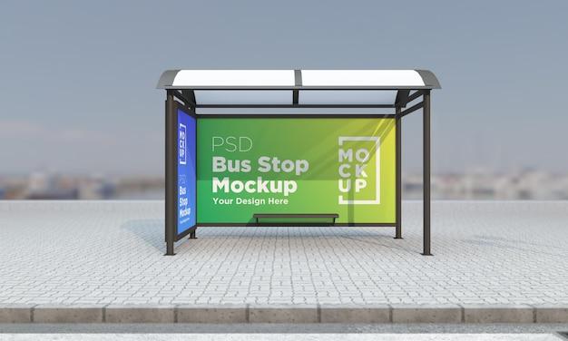 Arrêt de bus abribus deux signes maquette rendu 3d