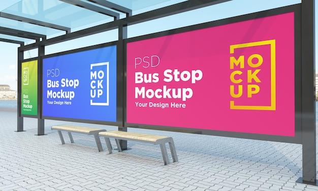 Arrêt de bus abribus trois signes maquette rendu 3d